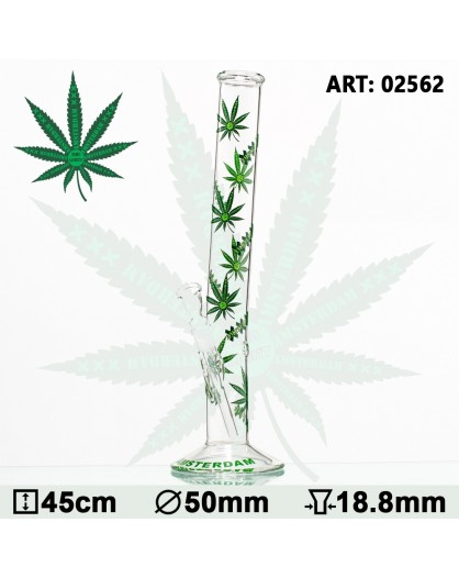 Green XXX Amsterdam Leaf Glass Bong